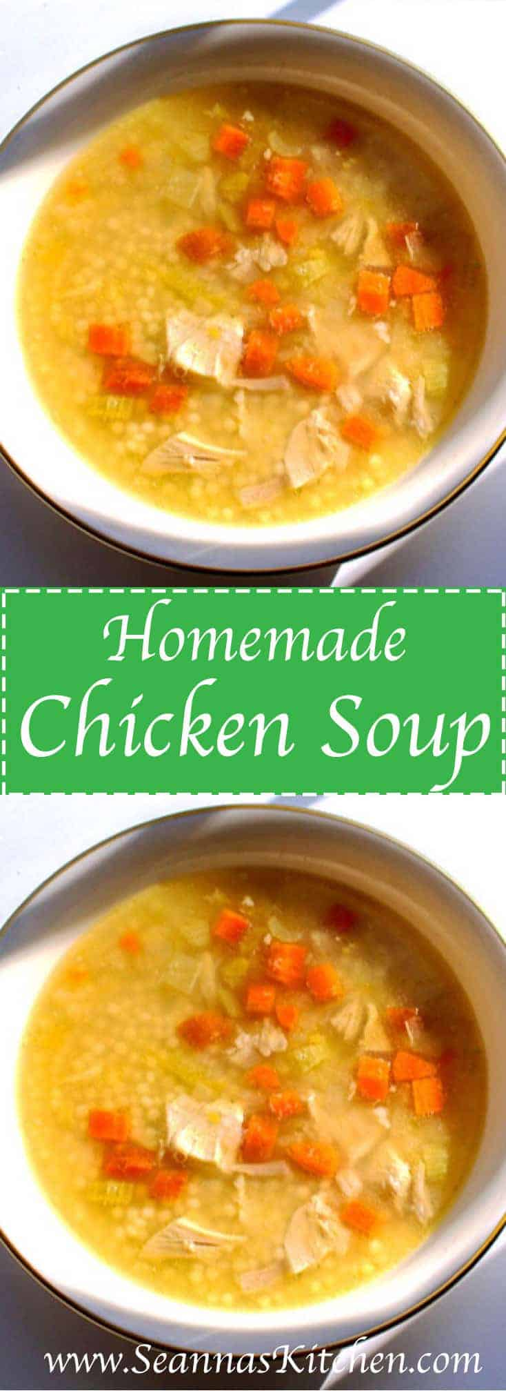 Chicken Soup Recipe -Absolutely the BEST! Made with fresh chicken, carrots, celery, and onions. We hope you'll try this simple healthy recipe | SeannasKitchen.com