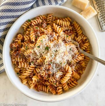 Pasta dish made with ground bison and red tomato sauce. Served with grated Parmigiano-Reggiano.