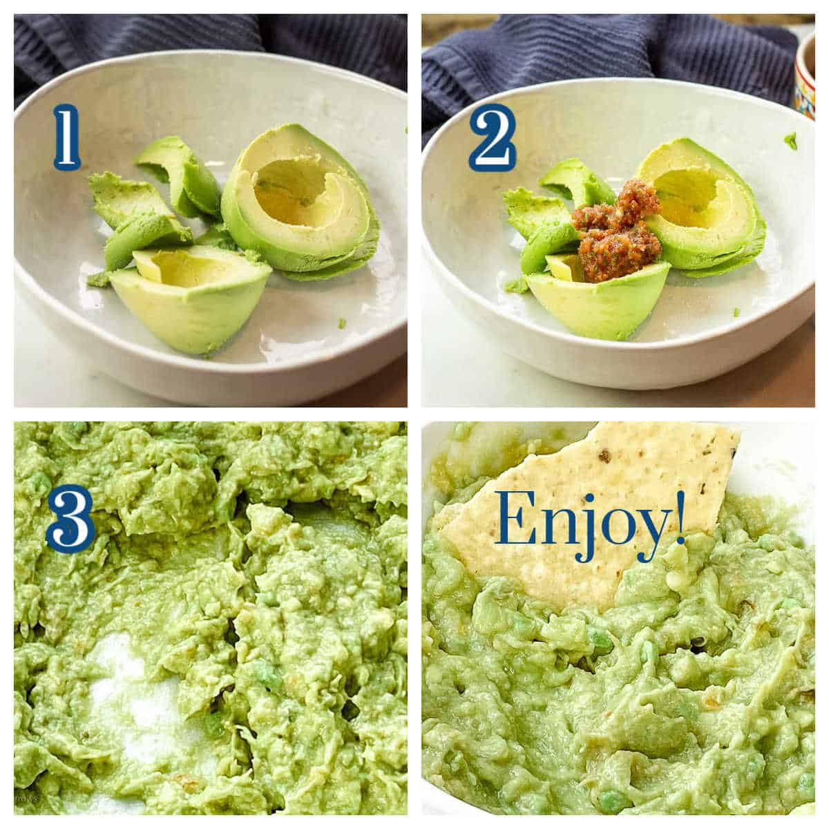 Image of Process Shots showing how to make the Best Guacamole in 3 Easy Steps.