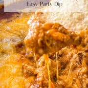 Image showing Chili Cheese Dip Pin for Pinterest with Title in banner.