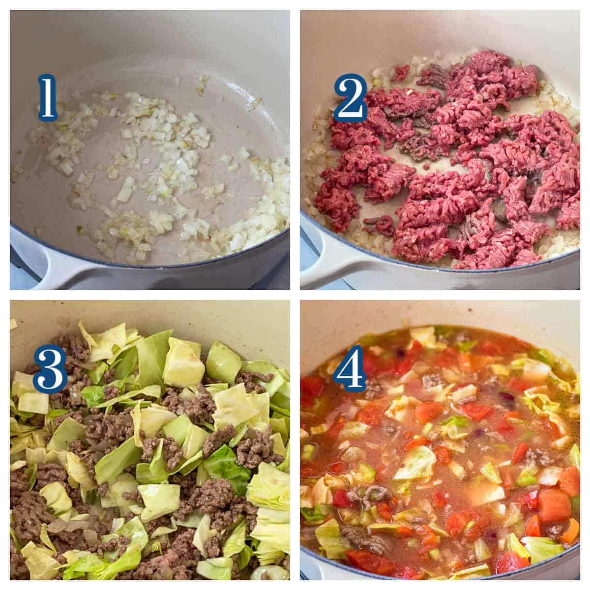 Process Collage of 4 steps to make yummy Cabbage Soup with Hamburger