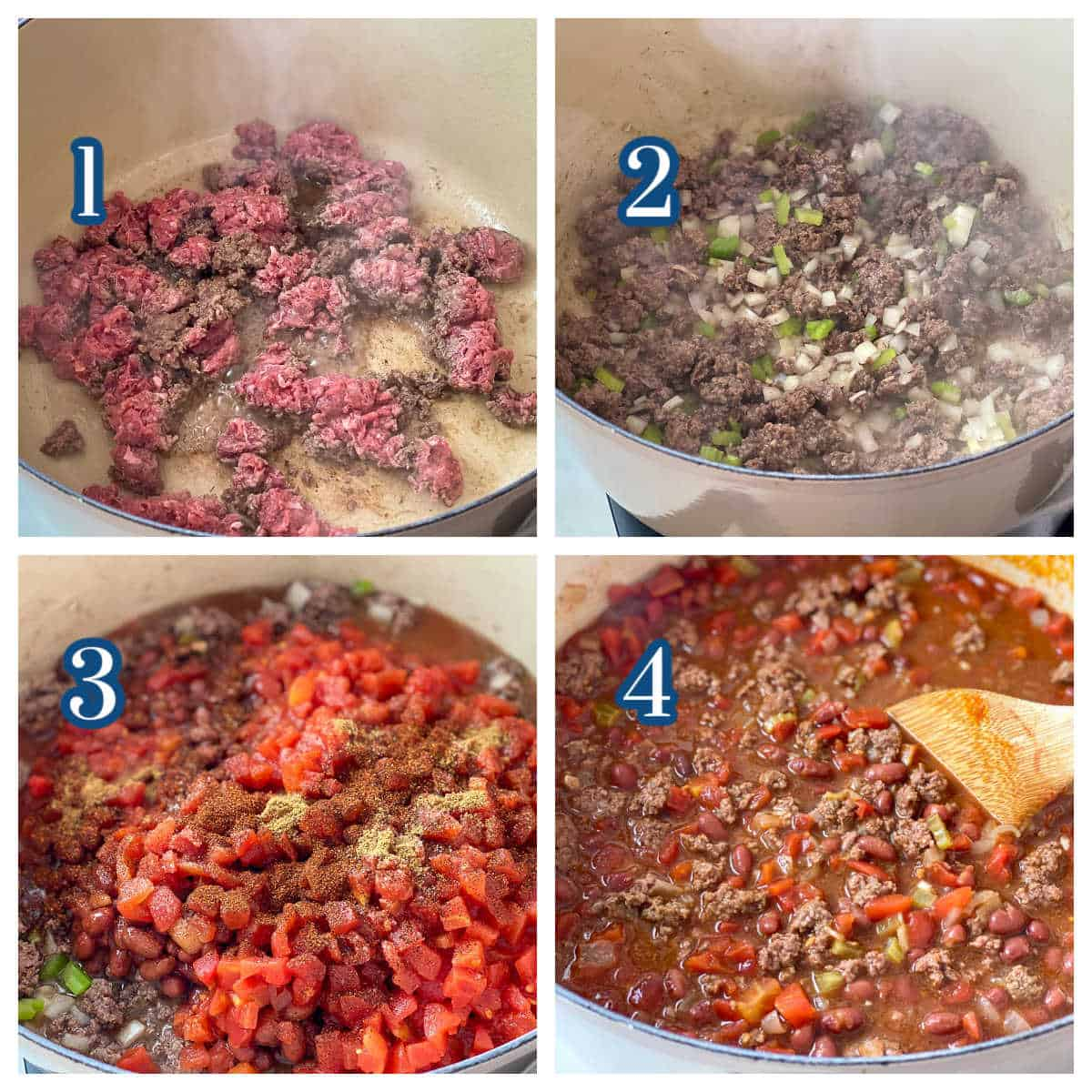 Collage showing four steps for making this delicious Bison Chili recipe.