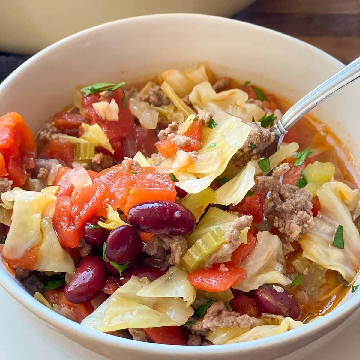 Image showing a white bowl of yummy beef and cabbage soup.