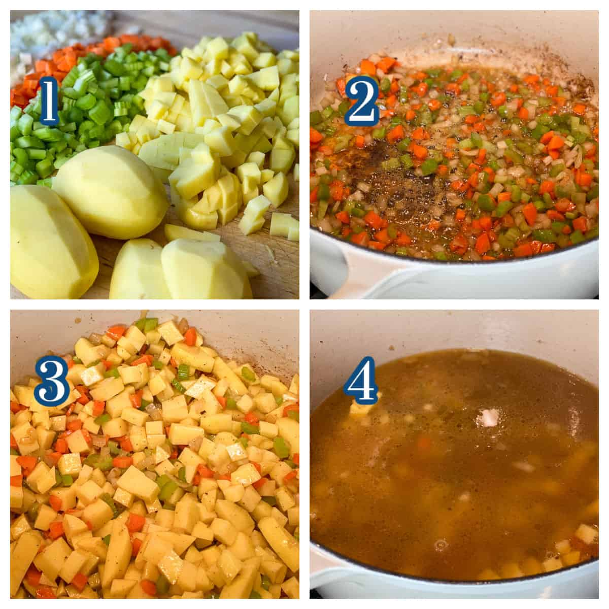 Process collage showing four steps in preparing vegetables for potato soup base.