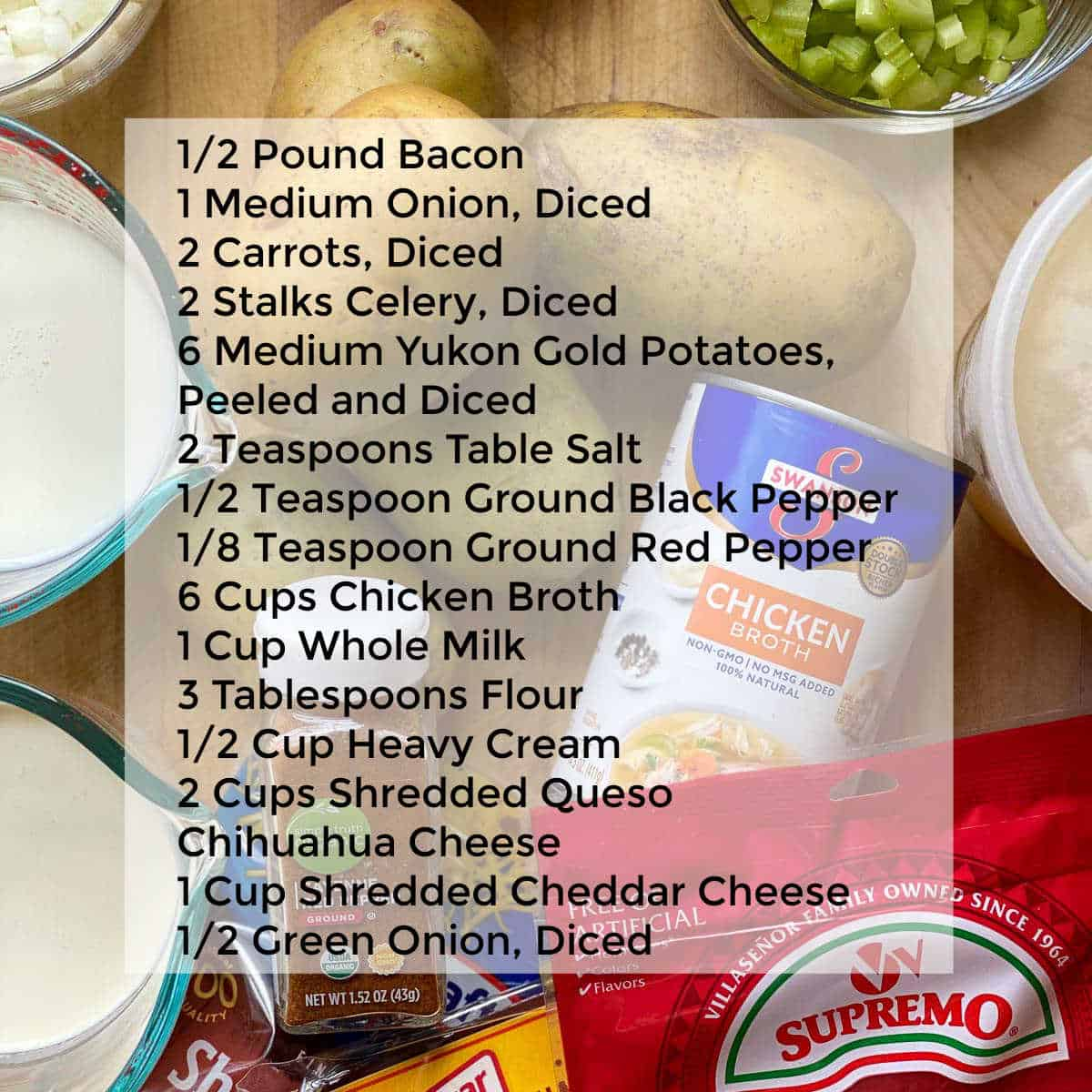 Image showing Ingredient List for The Best Potato Soup.