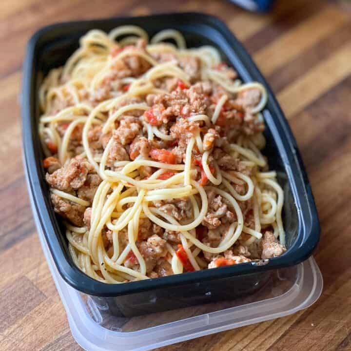 Meal prep container of Ground Bison Pasta.