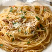 Image of Ground Turkey Pasta with grated parmesan cheese on white plate.