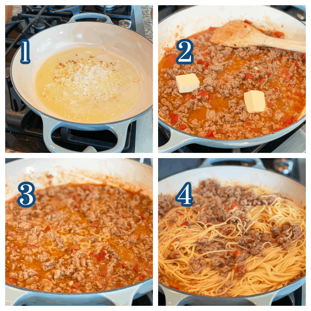 Process collage showing 4 steps of Ground Bison Pasta Recipe.