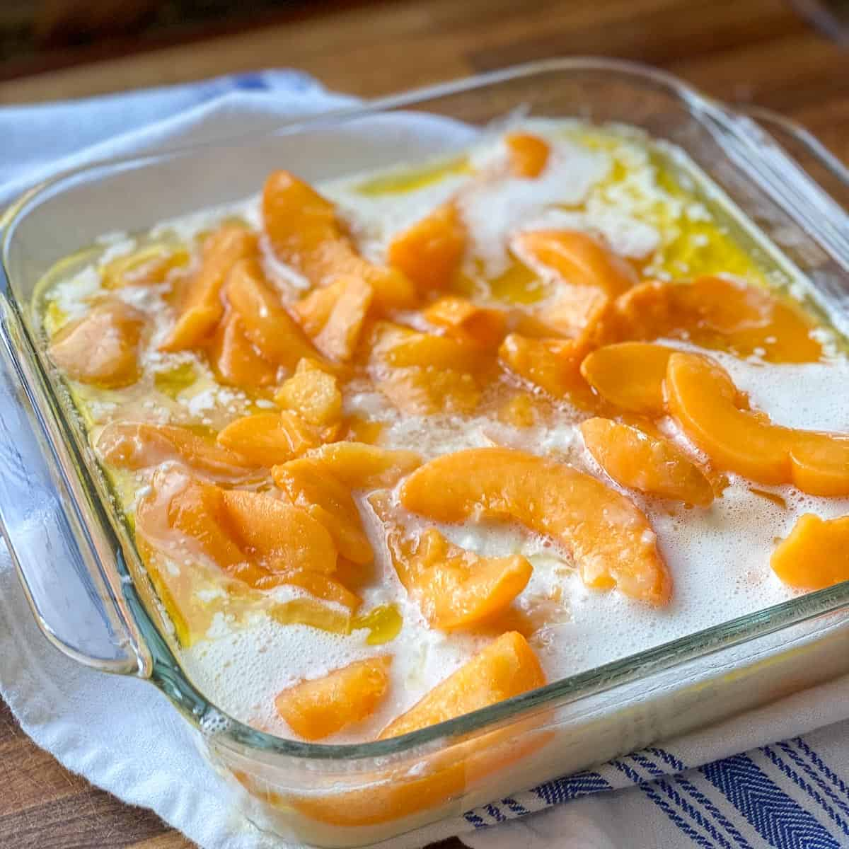 Easy Peach Cobbler Recipe ready for the oven.