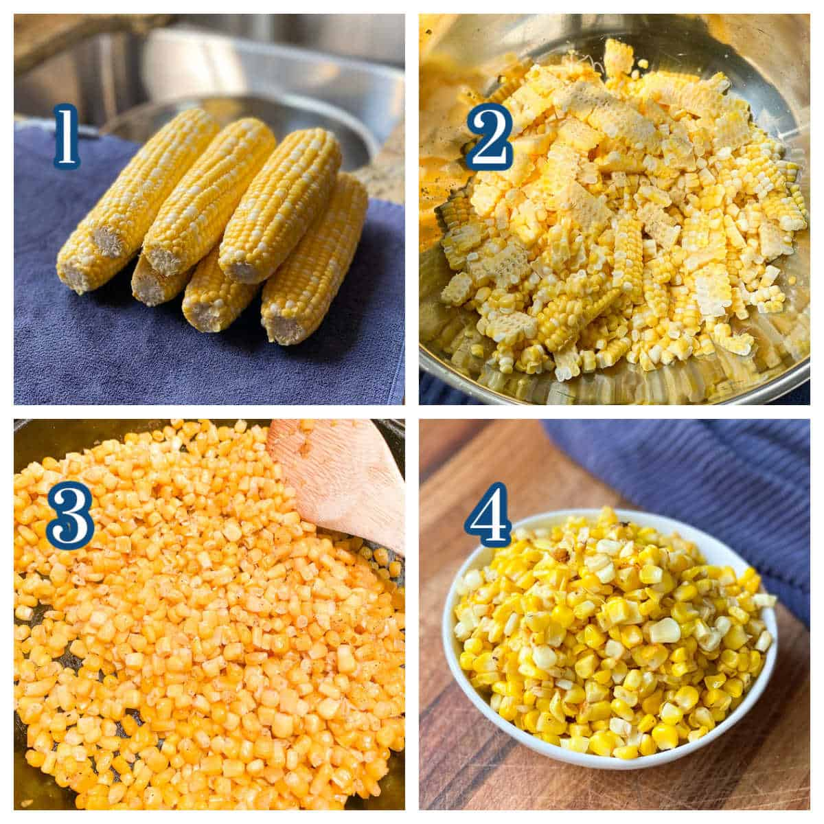 Collage showing 4 steps for making Fried Corn Recipe.