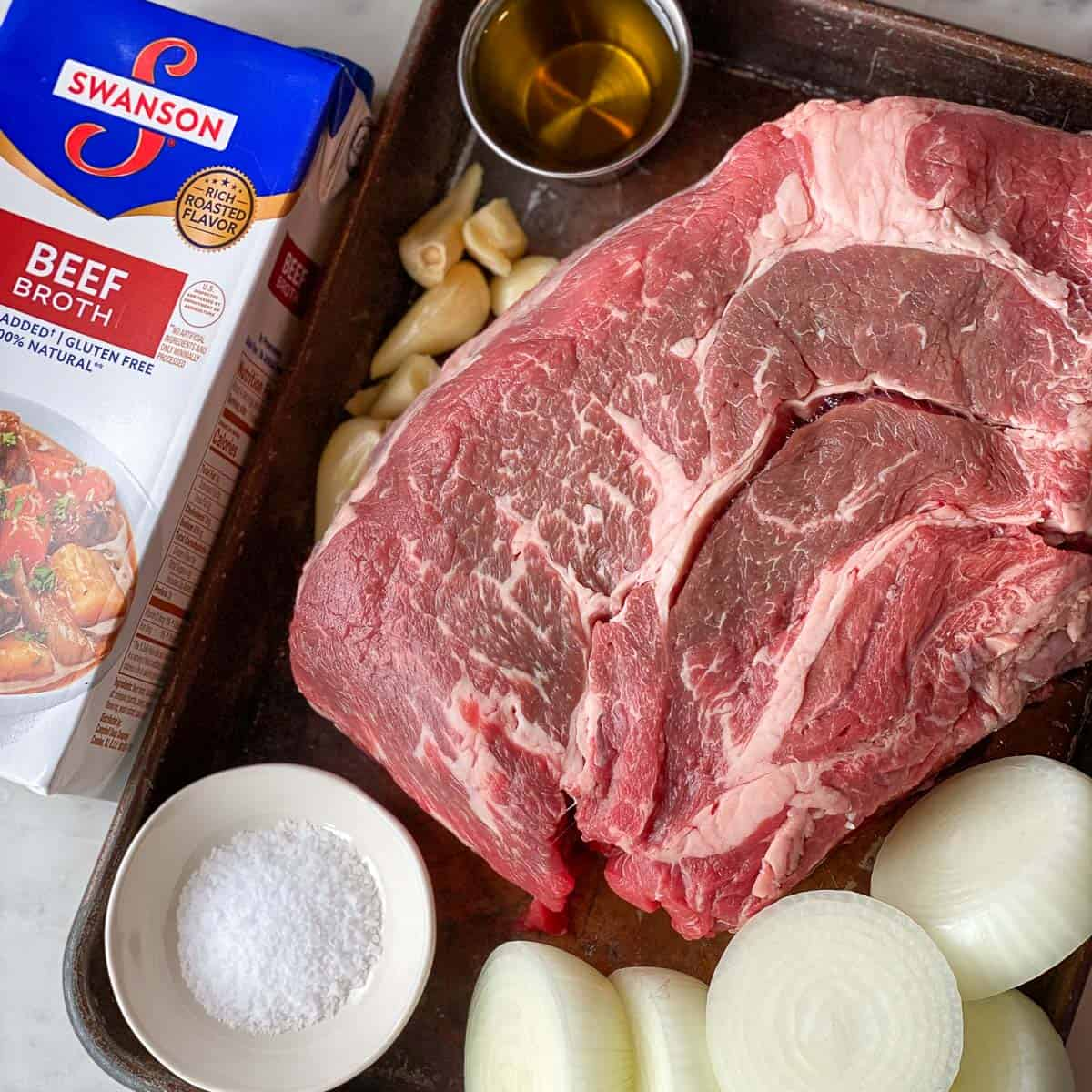 Photo of individual ingredients for Pot Roast Recipe.